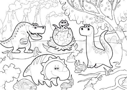 Dinosaur Cartoon Coloring Page Game