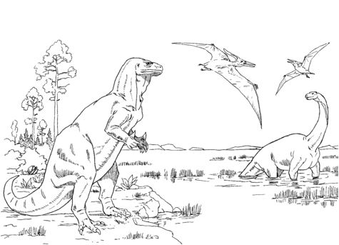 Iguanodon, Cetiosaurus and Pteranodons Coloring Page Game