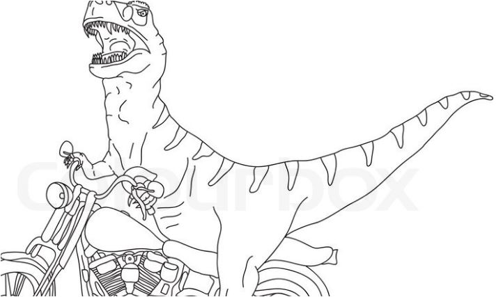 Vector Big T Rex on Motorbike Coloring Page Game