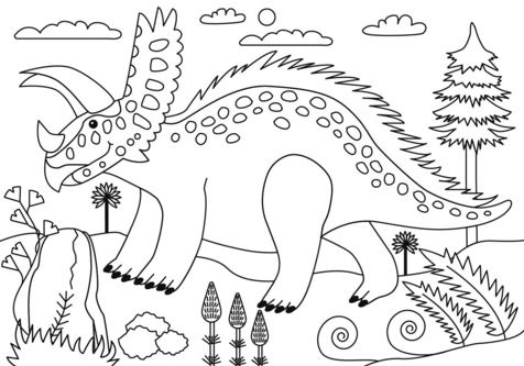 Pentaceratops Dinosaur Coloring Page Game