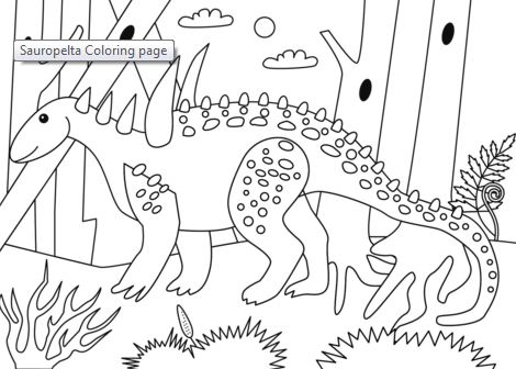 Sauropelta dinosaur coloring page Game
