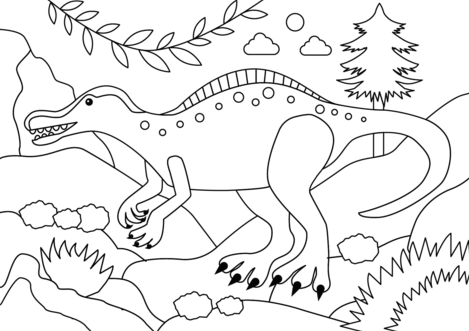 Suchomimus Dinosaur Coloring Page Game