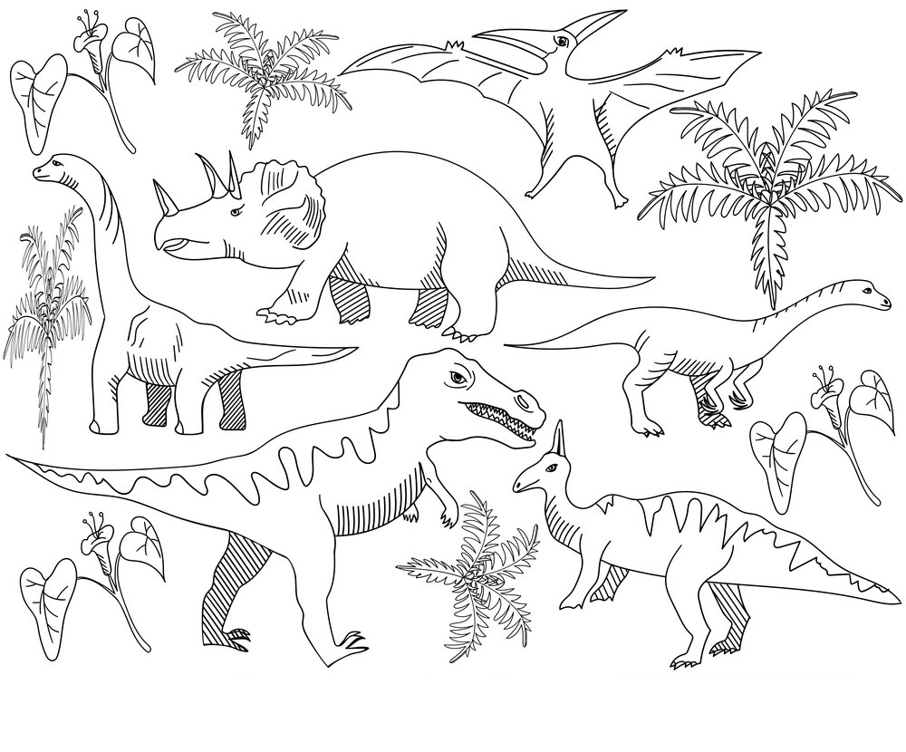 Dinosaur Coloring Page For Adults Game