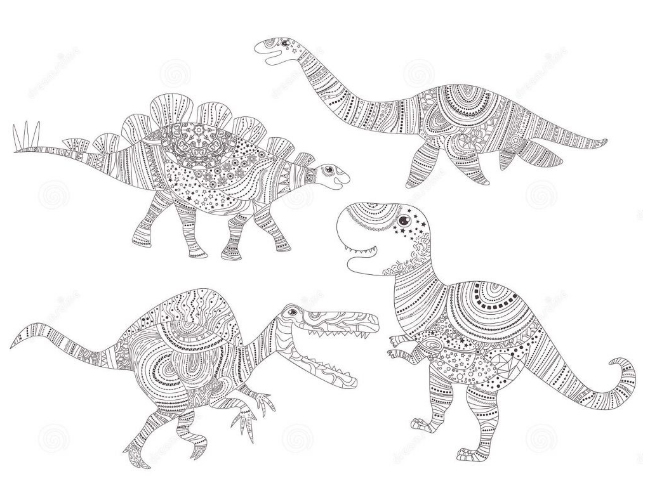 Dinosaur Coloring Page for Adult Game