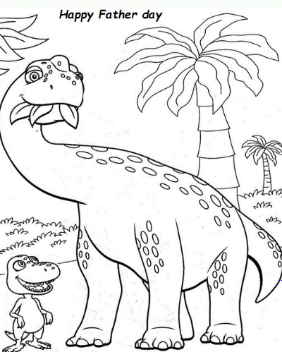 Father day dinosaur coloring page Game