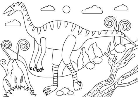 Struthiomimus dinosaur coloring page Game