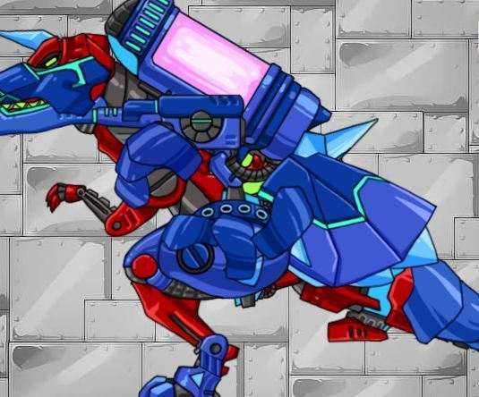 Dino Robot Tyrano Red And Tricera Blue Game