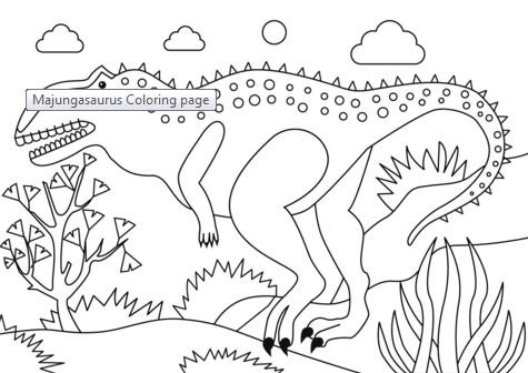 Majungasaurus Dinosaur Coloring Page Game