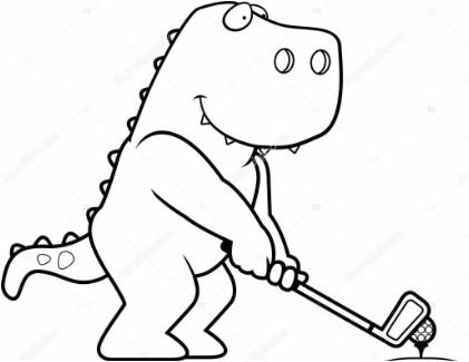 Dinosaur Golf Coloring Page Game