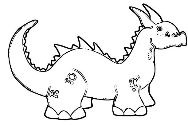 Cute Cartoon Dinosaur Coloring Page