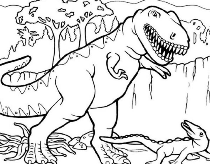 T Rex Hunting For Smaller Dinosaurus Coloring Page
