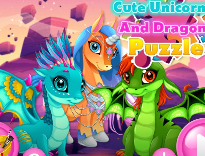 Cute Unicorns And Dragons Puzzle Game