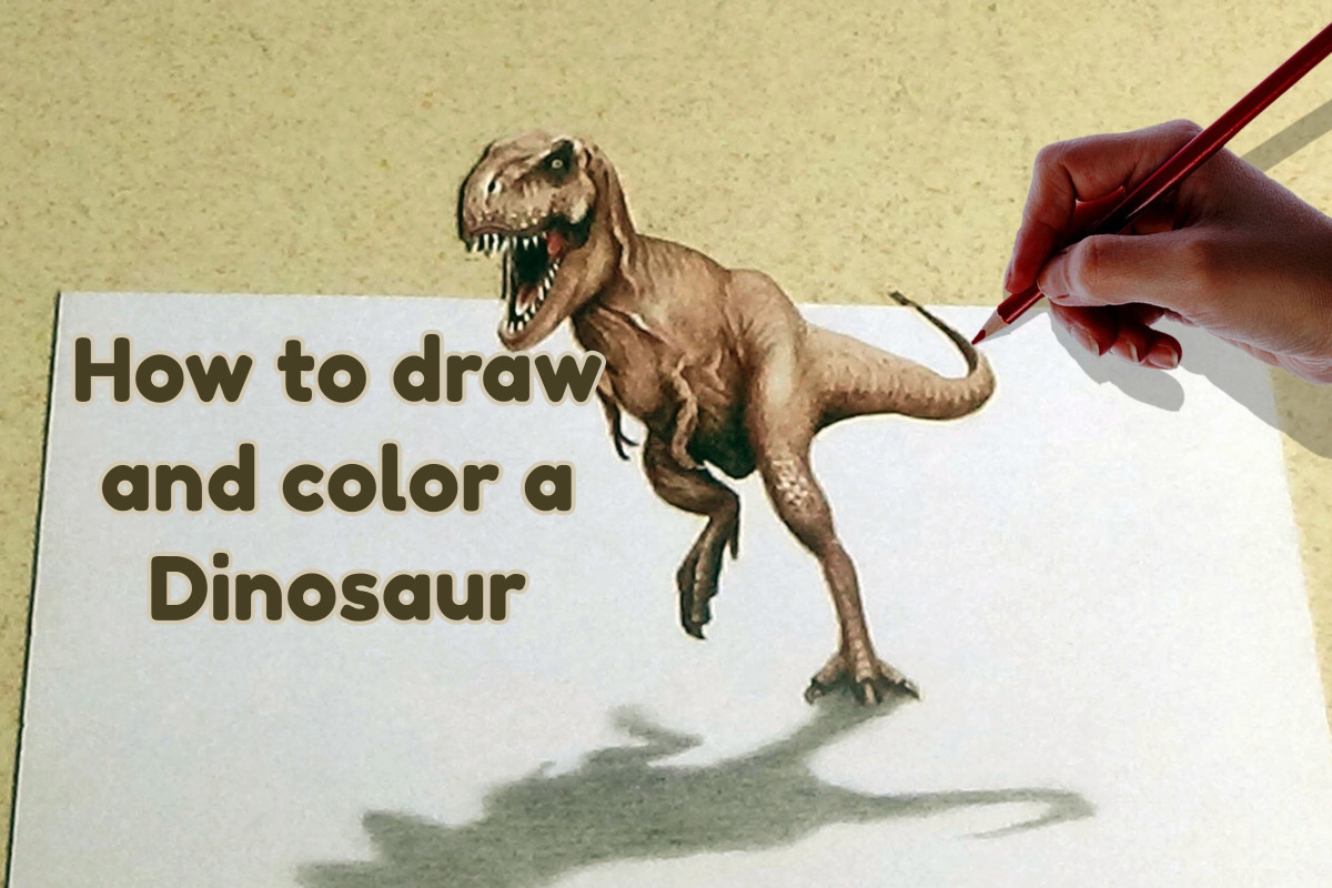 How to draw and color a dinosaur