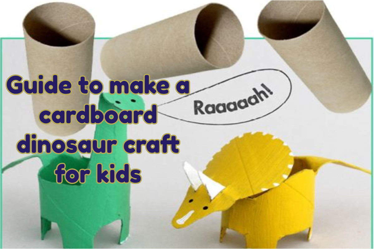 Guide to make a cardboard dinosaur craft for kids