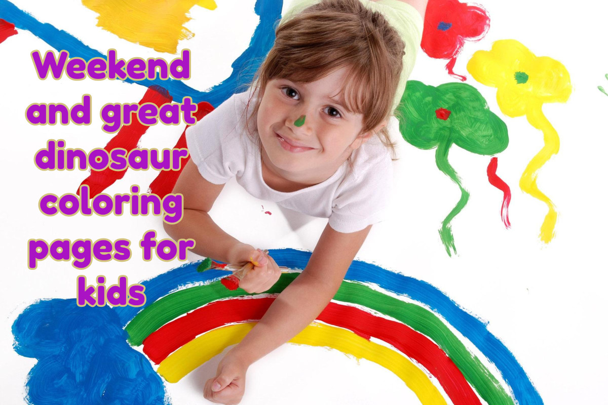 Weekend and great dinosaur coloring pages for Kids
