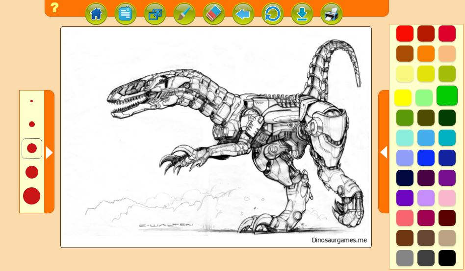 Great Robot Dinosaur Coloring Pages For Boys