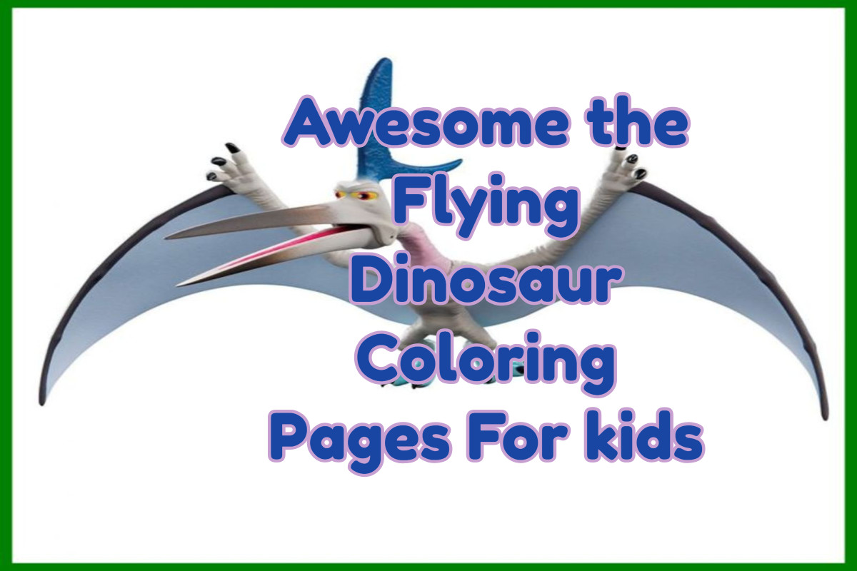 Awesome the Flying Dinosaur Coloring Pages For kids